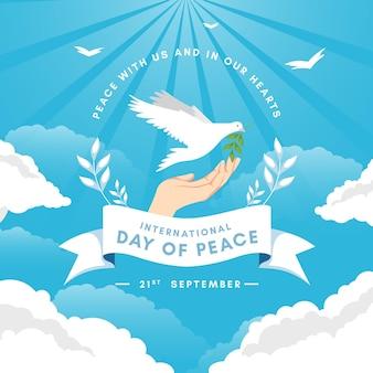Journée internationale du design plat du concept de paix