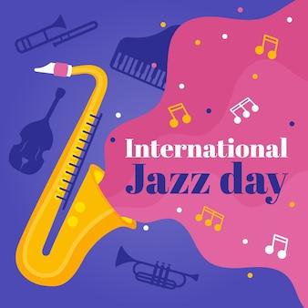Journée internationale du jazz au design plat