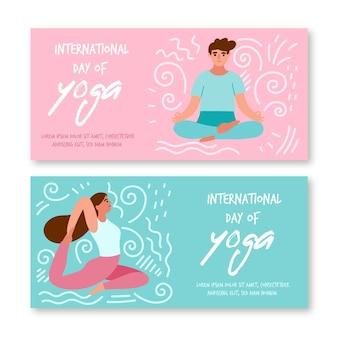 Journée internationale du modèle de yoga pour les bannières