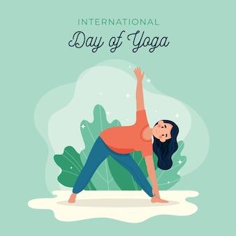 Journée internationale du yoga au design plat
