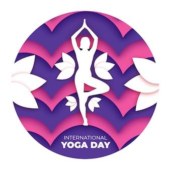 Journée internationale du yoga dans le style du papier