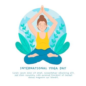 Journée internationale du yoga dessinés à la main