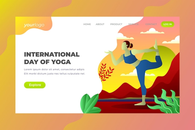 Journée internationale du yoga - page de destination vectorielle