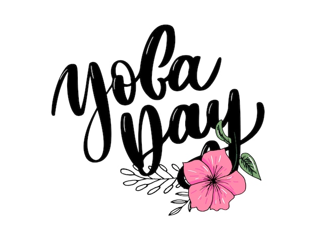 Journée internationale du yoga, texte manuscrit, calligraphie, lettrage