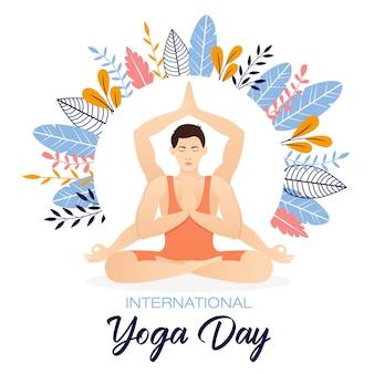 Journée internationale du yoga avec vue de face d'un jeune homme assis dans une pose de méditation