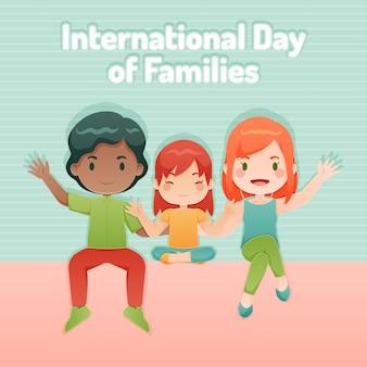 Journée internationale des familles au design plat