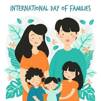 Journée internationale des familles avec fond de fleurs