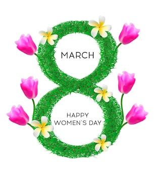 Journée internationale de la femme 8 mars lettre à base de plantes parsemée de nénuphars fleur délicate plumeria