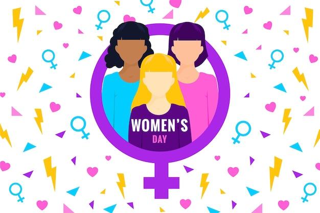 Journée internationale de la femme au design plat