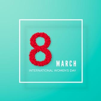 Journée internationale de la femme. carte postale de voeux. huit est fait de coeurs dans un cadre. concept de bannière de site web. illustration