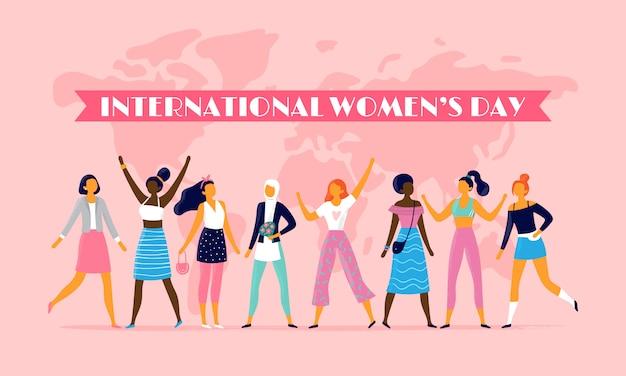 Journée internationale de la femme, célébrant le 8 mars, communauté de sœurs et femmes multinationales plates