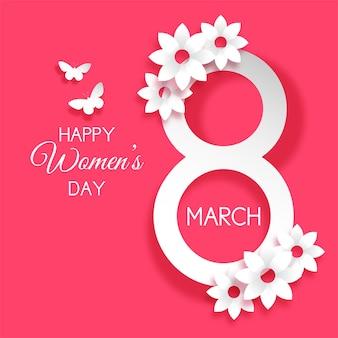 Journée internationale de la femme décorative avec des fleurs et des papillons