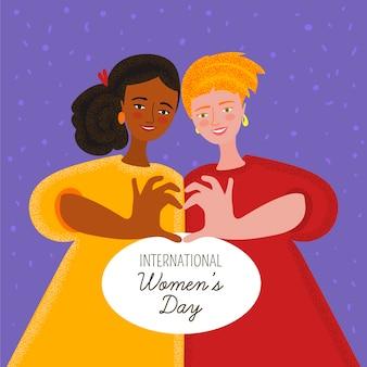 Journée Internationale De La Femme Dessinée à La Main Vecteur Premium