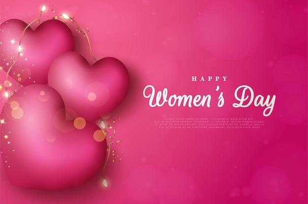 Journée internationale de la femme du 8 mars avec des ballons d'amour décorés de lumières.