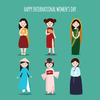 Journée internationale de la femme avec des femmes de différentes ethnies