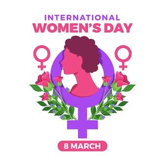 Journée internationale de la femme avec fleurs et symbole