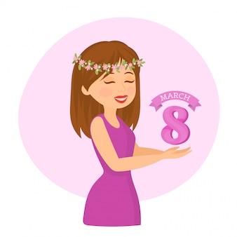 Journée internationale de la femme heureuse. 8 mars