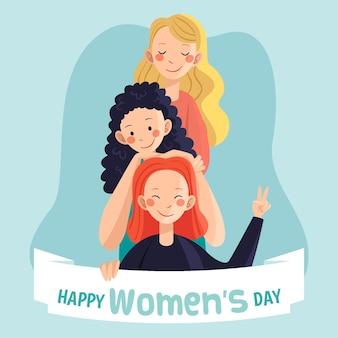Journée internationale de la femme heureuse dessinée à la main