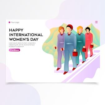 La journée internationale de la femme landing page illustration