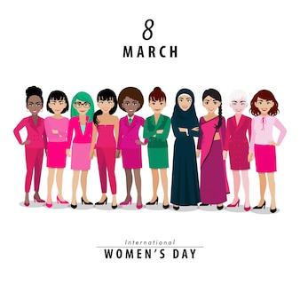Journée internationale de la femme. nationalité différente.
