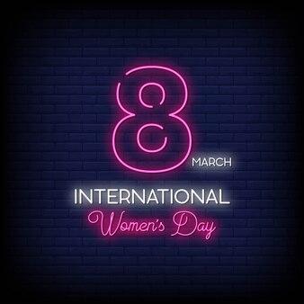 Journée internationale de la femme neon signs style texte