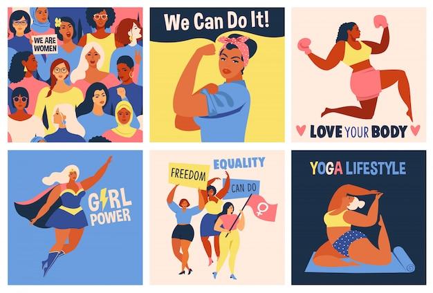 Journée internationale des femmes. affiche nous pouvons le faire.