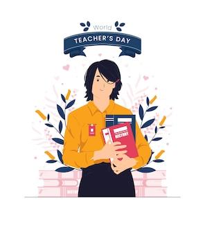 Journée internationale de l'illustration du concept de la journée mondiale des enseignants