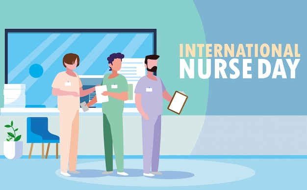 Journée internationale des infirmières avec un groupe de professionnels