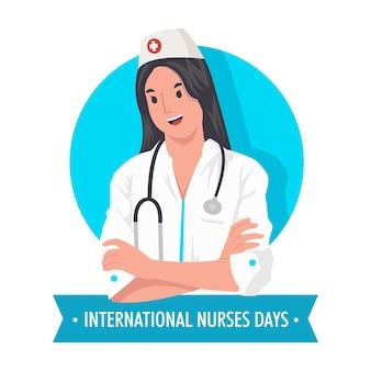 Journée Internationale Des Infirmières Avec Une Très Belle Illustration D'infirmière Vecteur Premium
