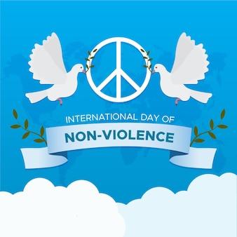 Journée internationale de la non-violence au design plat