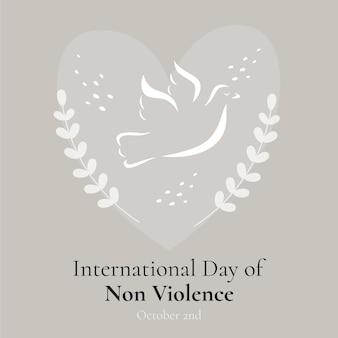 Journée internationale de la non-violence dessinée à la main avec colombe et coeur