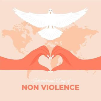 Journée internationale de la non-violence dessinée à la main avec pigeon