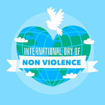 Journée internationale de la non-violence dessinée à la main