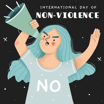 Journée internationale de la non-violence dessinée à la main