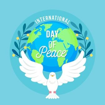 Journée internationale de la paix avec la colombe et la terre