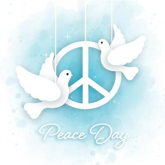 Journée internationale de la paix en style papier découpé.