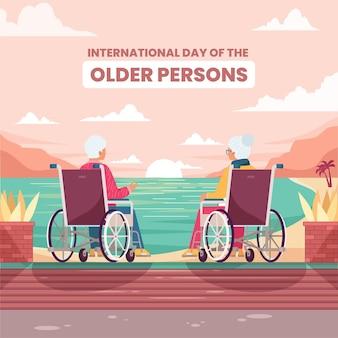 Journée internationale des personnes âgées au design plat