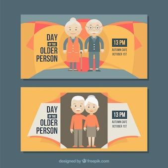 Journée internationale des personnes âgées bannières abstraites