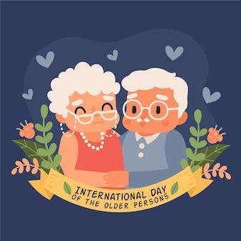 Journée internationale des personnes âgées dessinée à la main