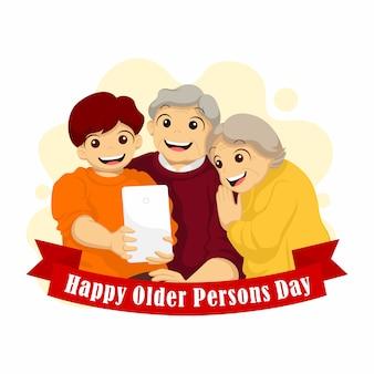 Journée internationale des personnes âgées. grand-père et grand-mère wefie avec leur illustration de petit-fils