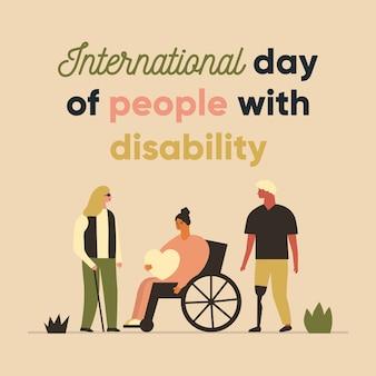 Journée internationale des personnes handicapées. conception de personnages. des gens debout ensemble.