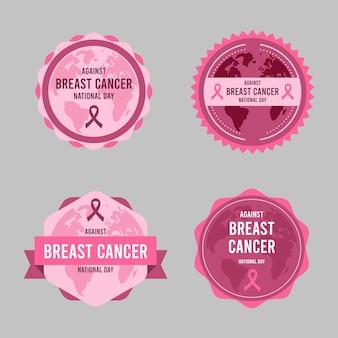 Journée internationale plate contre la collection d'étiquettes de lettrage contre le cancer du sein