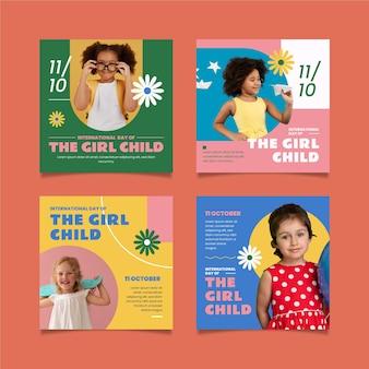 Journée internationale plate dessinée à la main de la collection de publications instagram pour fillettes avec photo