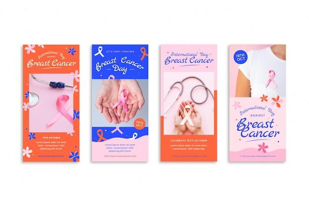 Journée internationale plate dessinée à la main contre la collection d'histoires instagram du cancer du sein