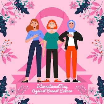Journée internationale plate dessinée à la main contre l'illustration du cancer du sein