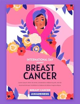 Journée internationale plate dessinée à la main contre le modèle de flyer vertical contre le cancer du sein
