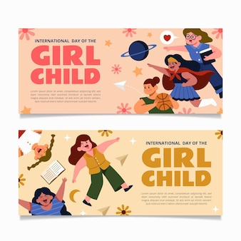 Journée internationale plate dessinée à la main de l'ensemble de bannières horizontales pour fillettes