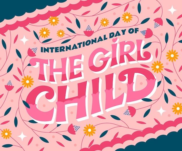 Journée internationale plate dessinée à la main de la petite fille lettrage