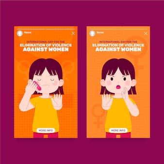 Journée internationale plate dessinée à la main pour l'élimination de la violence à l'égard des femmes collection d'histoires instagram
