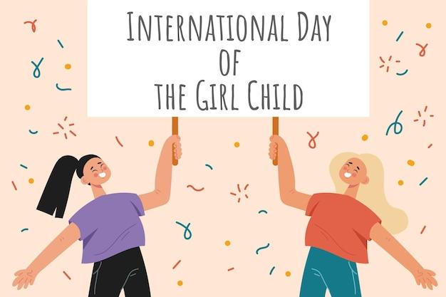 Journée internationale plate du fond de la petite fille
